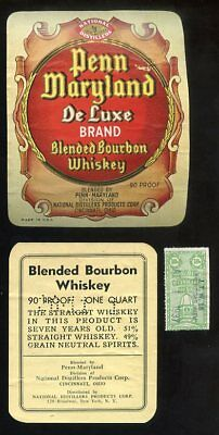3 Labels probably all from a PENN-MARYLAND BOURBON Whiskey Bottle 1937