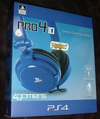 Official Blue Stereo Chat GAMING Headset Playstation 4 PS4 Vita Pro4 10 NEW