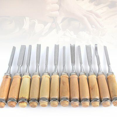 12Pc Wood Turning Lathe Chisel Set Woodworking Carving Woodturning Tools