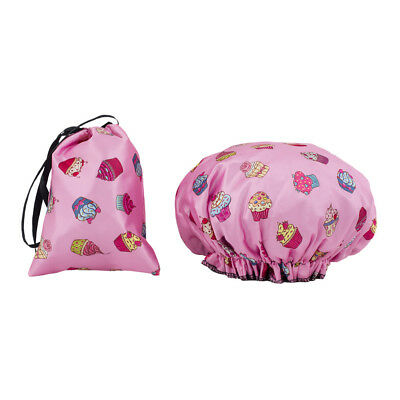 Dilly's Collections Shower Cap Double Lined Matching Satin Bag One Size Cupcake