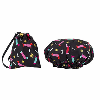 NEW Dilly's Collections Shower Caps Matching Satin Bag Universal Size Dogs