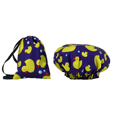 Dilly's Collections Shower Cap With Matching Satin Bag Double Lined Ducks Kids