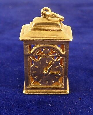 Vintage 9ct Gold MANTLE CLOCK Pendant Charm Hm1970 7gr  cx235 Moving Hands