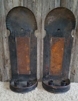 Vintage Pair Tall Crimped Tin Candle Holder Wall Sconces Antique