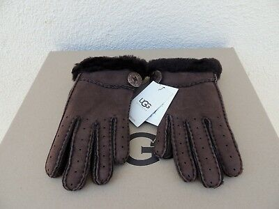 Ugg Chocolate Bailey Button Suede Shearling Winter Gloves ~Small ~ New