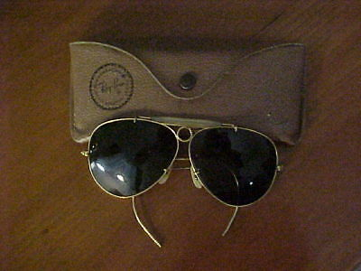 Orig. Vintage Bausch & Lomb Ray Ban Aviator Sunglasses w/ Pebbled Leather Case