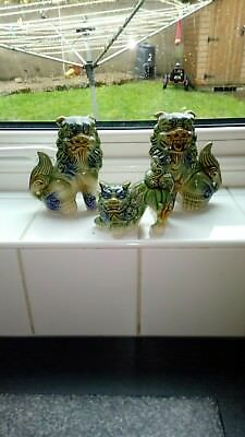 3 antique chinese lion dogs