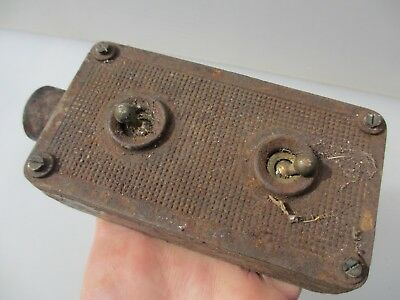 Vintage Iron Double Light Switch Industrial Factory Antique Art Deco Old Brass