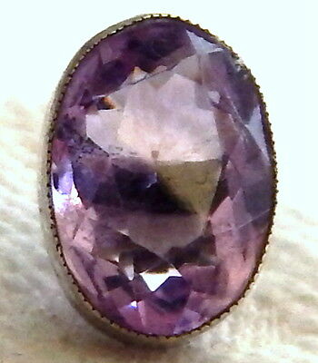 ANTIQUE 1800-1815 SILVER WAISTCOAT BUTTON w/GENUINE OVAL FACETED AMETHYST STONE
