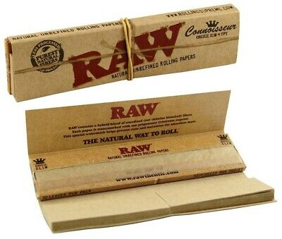 RAW Organic Hemp Connoisseur Kingsize Slim King Size Rolling Papers with Tips