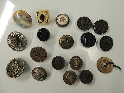 Lot of 18 ANTIQUE Vintage Buttons Studs Exquisitely Detailed Mixed Lot 804