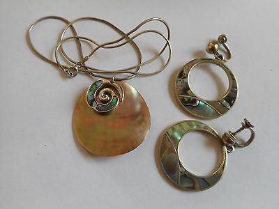 Vintage silver abalon shell, shell earrings and necklace