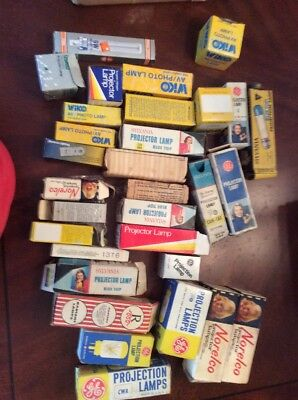 34 Large Lot Old Projector Bulbs GE, Sylvania, WiKO, Norelco NOS In OEM Boxes