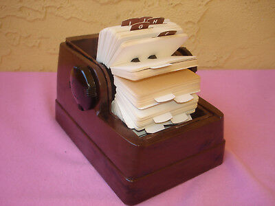 Vintage Zephyr Rolodex Brown Plastic Roll Top Rotary Card File Organizer - Cards