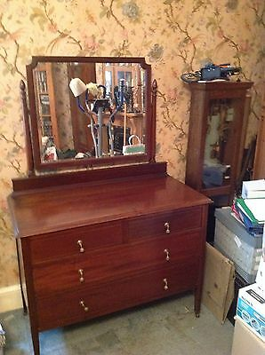 Edwardian Inlaid Mahogany  Bedroom Suite Wardrobe Dressing Table Washstand