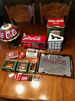 Lot of Vintage Coca Cola Collectibles - magnets/glass serving tray/lamp/Xmas