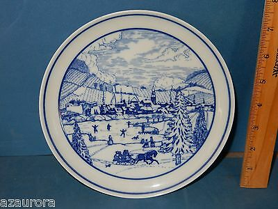 """Hutschenreuther Winter Christmas  8""""  Plate Horse Sleigh Ice Skaters"""