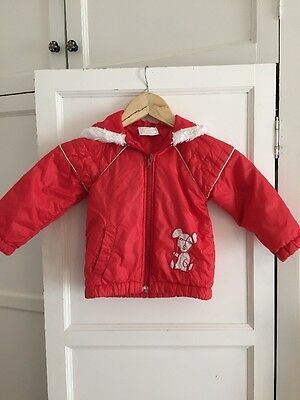 Vintage 1970s Nylon Red Zip Up Jacket For 2years