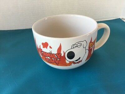 FAMILY GUY Coffee Mug BRIAN Soup Cup BURNING! Fox Network Flames Hearts
