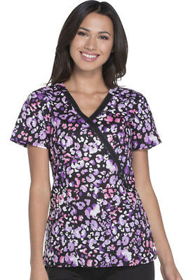 Women's Dickies Mock Wrap Top in Wild About Watercolor Medical Scurb Top