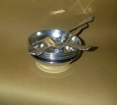 William Hutton sons Sterling Silver Open Salt Cellar's With 4 Spoons, Rare Find