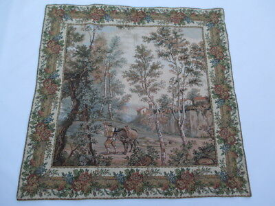 Old French / Belgium Tapestry Wall Hanging - 84 x 84 cm ( 4282 )