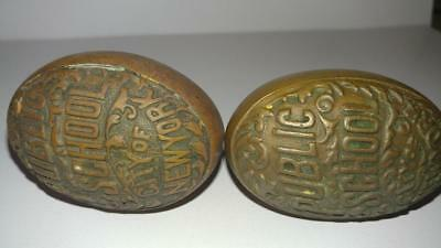 2 - EARLY 1900's PUBLIC SCHOOL CITY OF NEW YORK ANTIQUE SOLID BRASS DOOR KNOBS