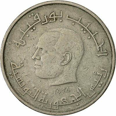 [#541424] Coin, Tunisia, 1/2 Dinar, 1976, EF(40-45), Copper-nickel, KM:303