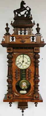 Antique 19thc Junghans Carved Walnut 8 Day Key Hole Vienna Regulator Wall Clock