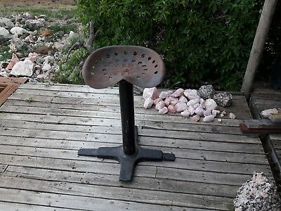 vintage Paul L Dodds Co Los Angeles iron table leg post stand & Tractor seat ;)