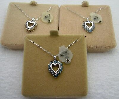 Lot Of 3 Vintage Nos Sterling Silver Birthstone Necklace & Pendant