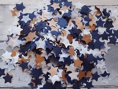 White, Copper Navy Blue Stars Confetti Biodegradable.throwing, Party Decoration