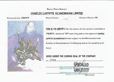 Bearer Shares Warrant Charles Laffitte (Scandinavia) Ltd. Inh.-Optionsschein
