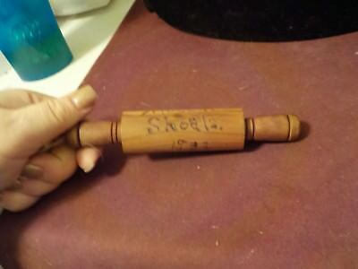 Nice Small 6 Inch Wooden  Rolling Pin Ingraved Muscle Shoals 1932
