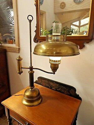 Vintage 1960's Solid Brass Toleware Student Style Desk or Table Lamp iExc. Cond.