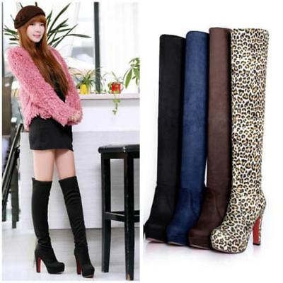 Women Ladies High Heel Boots Over Knee Suede Thigh Elastic Stretch Shoes JA