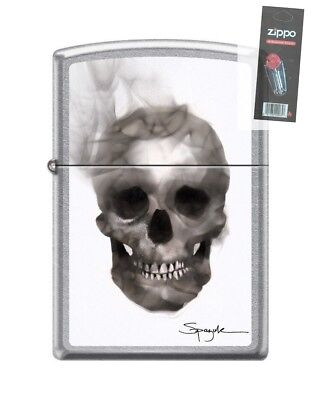 Zippo 7043 Spazuk Smoking Skull Street Chrome Finish Lighter + FLINT PACK