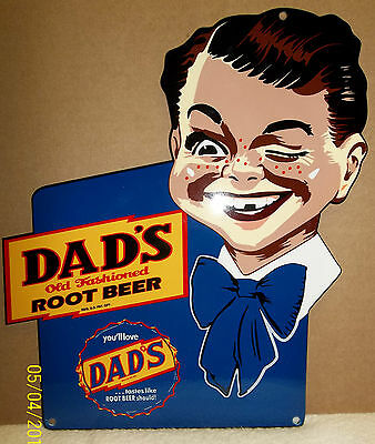 Awesome Dad's Root Beer Sign with Smiling Boy. Heavy, Porcelain Look & Feel Sign