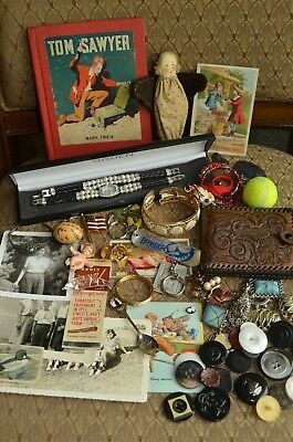 Junk Drawer Estate Lot Jewelry Sterling Buttons Gruen Watch Old Victorian Card