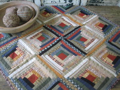 Reproduction Antique Prim LOOK Log Cabin Crib Quilt Wall Hanging Brown Red Blue