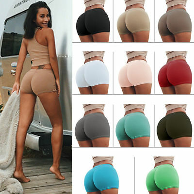 Womens Gym Yoga Shorts Plain Cycle Sports Fitness Stretch Hot Pants Mini Shorts