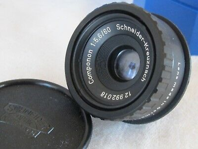 Schneider 60mm f5.6 Componon Enlarging Lens w/ Caps Case Box 39mm Adapter