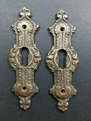 "2 Antique Brass Keyhole French Escutcheons Hardware Ornate  Keyhole 3 1/4"" #E20"