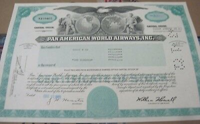 1981 Pan American World Airways OLD CANCELED STOCK  CERTIFICATE   green