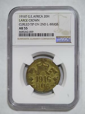 German East Africa  Deutsch Ostafrika 1916 T 20 Heller Brass Ngc Au55 L Coin Lot