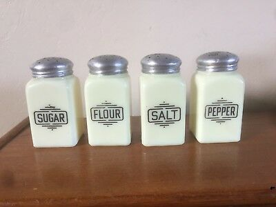 Vintage Set of 4 McKee Custard Glass Small Box Sugar Flour Range Shakers