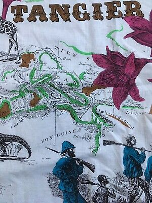 """Africa Map Scrap Fabric Afrika Tangier Maroc 20 1/2"""" X 59"""" Cut Out Vintage OOP"""