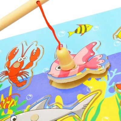 3D Educational Toys Fishing Puzzle Toy Wooden Magnetic For Toddlers Kid Children