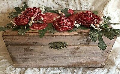 Pretty Hand Painted Crafted BOX Roses Shabby Chic Romantic Cottage