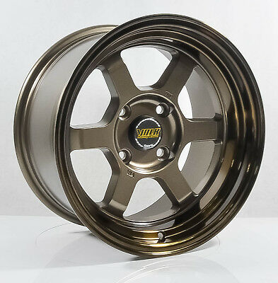 4pcs TE37 V 15 inch Mag Wheels Rim 4X114.3 Alloy wheel Car Rims BRONZE HYB74 -3